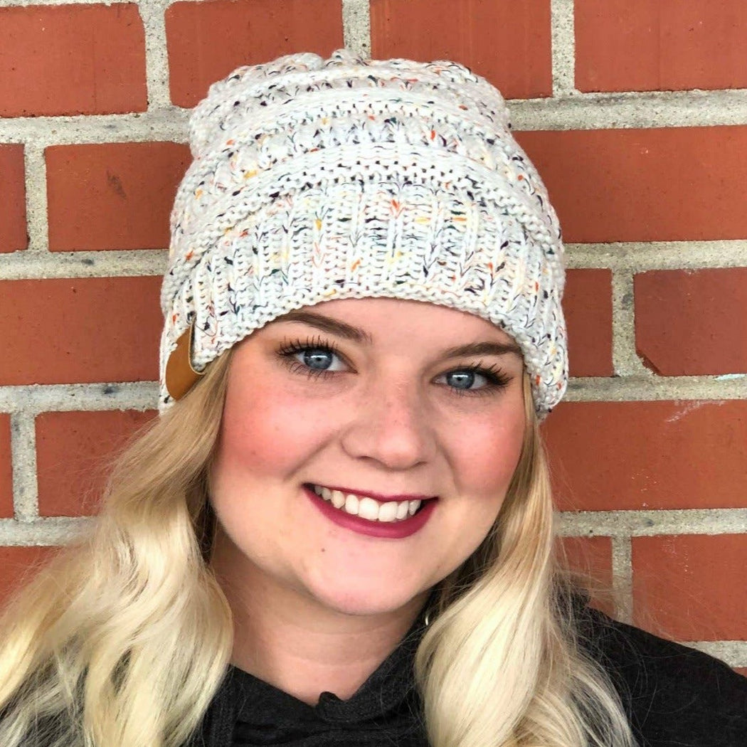 Cable Knit Ivory Confetti Beanie - Fancy That