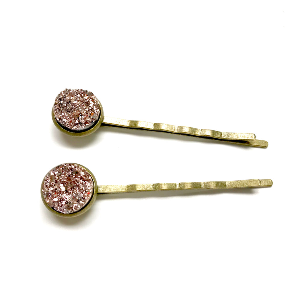 Rose Gold Druzy Bobby Pins - Fancy That