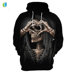 2018 Oversized Hoodie with Anime skull 3d long sleeves