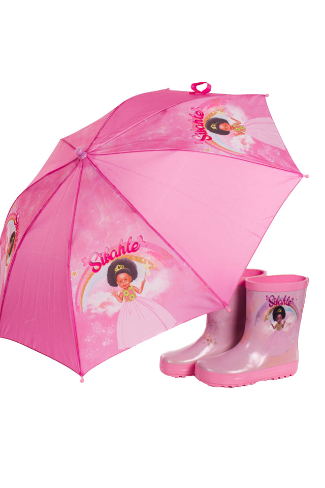 Pretty in Pink Umbrella & Wellies Combo