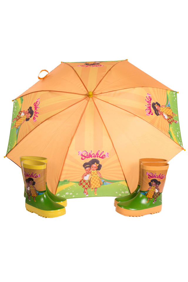 We love Orange Umbrella & Wellies Combo