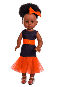 Nobuhle Denim Dress Orange