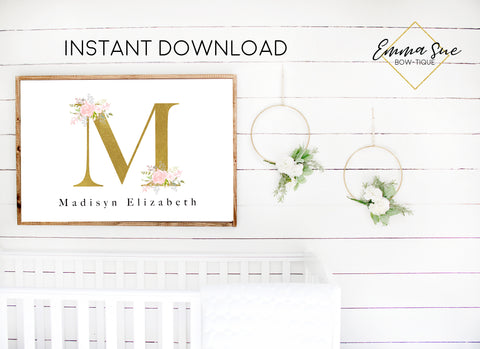 Pink Blush & Gold Watercolor Floral Personalized Monogram Baby Name Sign - Kid's Room Or Nursery Printable Wall Art  - Digital File (Name-blush3624)