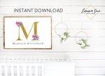 Watercolor Wildflower Floral Personalized Gold Monogram Baby Name Sign - Kid's Room Or Nursery Printable Wall Art  - Digital File (Name-wildflower3624)