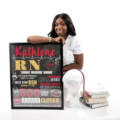 Nursing Graduation Sign - LVN, LPN, RN, or any Degree - Personalized Chalkboard Sign- DIGITAL FILE (Chalk-LVNRed)