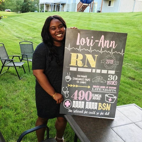 Nursing Graduation Sign - BSN, LVN, LPN, RN or any degree - Personalized Chalkboard Sign Photo Prop - Any Nursing Degree DIGITAL FILE (Chalk-RNGold)