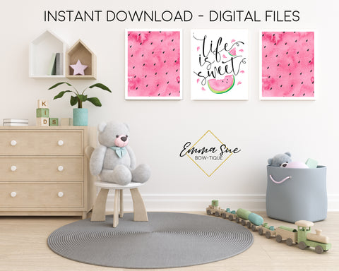 Life is Sweet Pink Watermelon - Kid's Room Or Baby Nursery Printable Wall Art  - Digital File