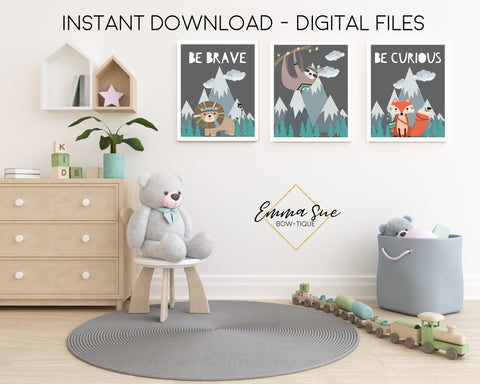 Woodland Forest Animals Be Brave, Be Curious Lion Fox Sloth - Kid's Room Or Baby Nursery Printable Wall Art  - Digital File