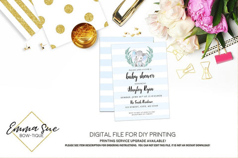 Elephant Baby blue stripe watercolor - Baby Shower Invitation- Digital Printable File  (Baby-elephant)