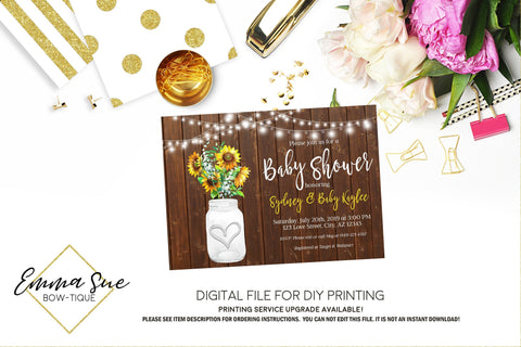 Sunflower Mason Jar - Rustic Wood and string lights country Baby Shower Invitation- Digital Printable File  (Baby-sunflowerlights)