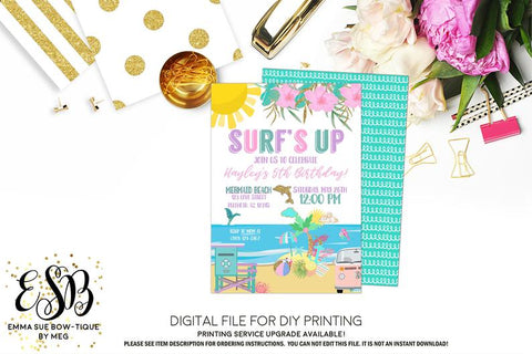 Surf's Up - Beach Kid's Birthday Party Invitation Printable - Digital File  (beach-surfsup)