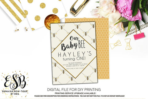 Baby Bee 1st Birthday Party invitation Printable - Digital File  (Bee-vintage Zazz