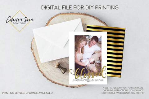 Blessed Gold Foiled Christmas Card - Family Photo card - Digital File (blessed-01)