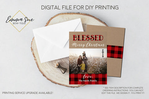 Blessed Plaid Kraft paper Photo Christmas Card Christmas Holiday with photo Buffalo Check plaid - Digital File (joy-plaid)