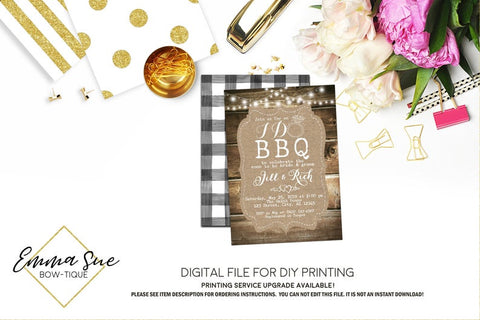 I Do BBQ - Rustic Wood, Burlap, string lights, black and white gingham Bridal Shower Invitation - Digital File Printable (bridal-ido)