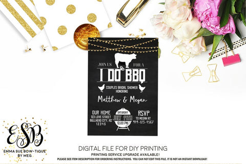 I Do BBQ - Chalkboard and string lights Couples Bridal Shower Invitation - Digital File Printable (bridal-idoBBQ)
