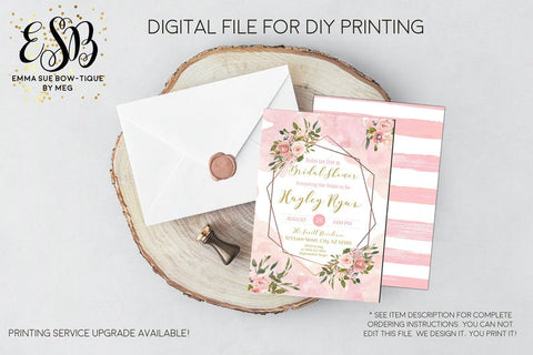 Watercolor Blush Pink Floral Geometric Bridal Shower Invitation - Digital File Printable (bridal-pnkgeo)