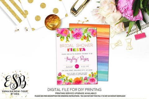 Watercolor Bridal Fiesta Pink Succulent Bridal Shower Invitation - Digital File Printable (bridal-pnkwaterfiesta)