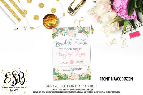 Watercolor Bridal Fiesta Blush Pink Succulent Bridal Shower Invitation - Digital File Printable (bridal-succulentblush)