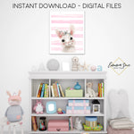Floral Woodland Bunny with Blush Stripes Wall Art - Nursery, Playroom, Bedroom Printable Sign  - Digital File - Instant Download