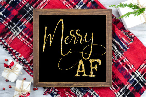Merry AF - Black & Gold glitter - Funny Christmas Printable Sign Farmhouse Style  - Digital File