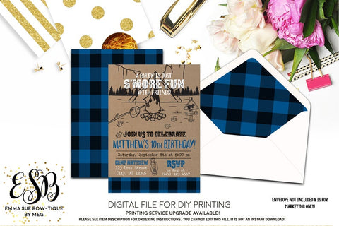 S'more Fun with Friends Buffalo Plaid Birthday Party invitation Printable - Digital File  (camp-smorelbue)