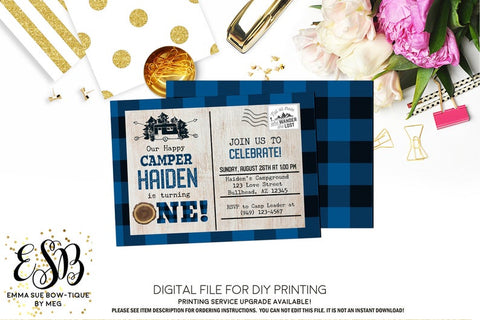 Our Happy Camper - Birthday Camping Party invitation Printable - Digital File  (camper-plaid)