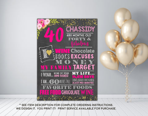 40th Birthday or any age - Adult smash cake photo prop Birthday Personalized Chalkboard Sign DIGITAL FILE