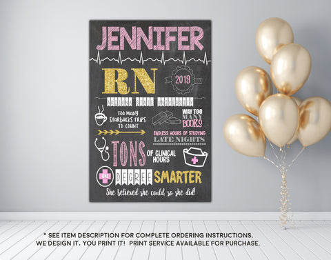 BSN, LVN, LPN, RN Nursing Graduation Personalized Chalkboard Sign Photo Prop - Any Nursing Degree DIGITAL FILE (Chalk-RNGold)