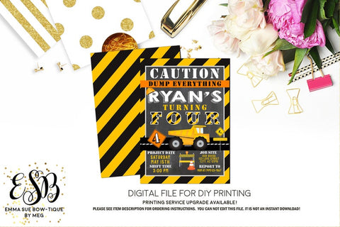 Caution Dump Everything - Construction Dump Truck Birthday Party Invitation Printable - Digital File  (Construction-Dump)