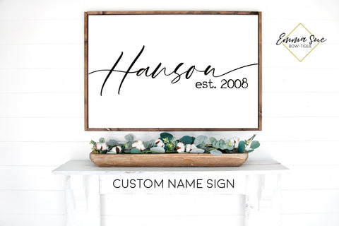 Custom Last Name Established date Family Room Bedroom Large wall Sign handwritten script