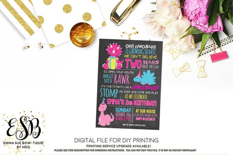 Girl's Our Little Dinosaur is growing so Fast Chalkboard Birthday Party Invitation Printable - Digital File  (Dinosaur-pnkchalk)