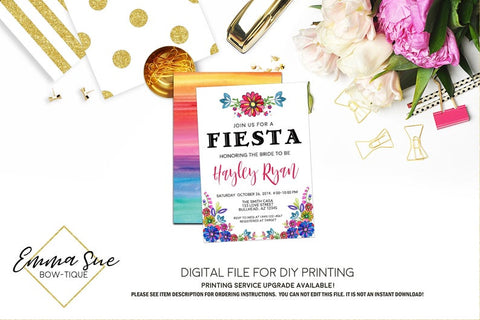 Bridal Fiesta Flowers Bridal Shower Invitation - Digital File Printable (bridal-fiestaflower)