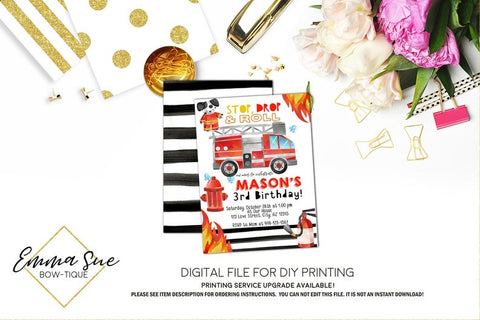 Fireman Fire Truck Kid's Birthday Party Invitation Printable - Digital File  (Fireman-01)