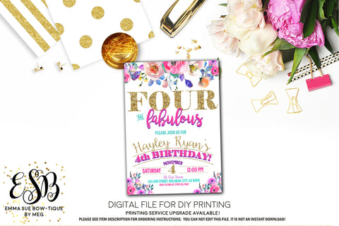 Four and Fabulous Floral Birthday Party Invitation Printable - Digital File  (Four-Roses)