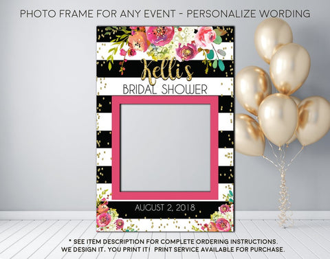 Fall Watercolor Floral Burgundy Black and white stripe Bridal Shower or any event Photo Prop Frame Sign - Digital File (frame- burg13BW)