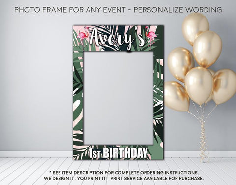 Flamingo Tropical Luau Party - Photo Prop Frame Sign - Digital File (frame-Flamingopalm)