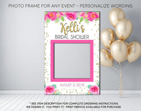 Pink Watercolor Floral & Gold Confetti Bridal Shower or any event Photo Prop Frame Sign - Digital File (frame-pnkconfetti)