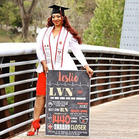 Nursing Graduation LVN, LPN, RN, or any Degree- Personalized Chalkboard Sign- DIGITAL FILE (Chalk-LVNRed)