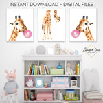 Giraffe with Bubble Gum - Kid's Room Or Baby Nursery Printable Wall Art  - Digital File