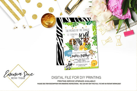 Wild One Jungle Safari 1st Birthday Party invitation Printable - Digital File  (Jungle-Safari)
