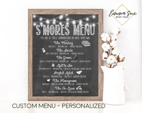 Custom Personalized S'mores Party Menu Printable Sign - Digital File
