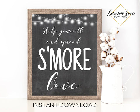 Help Yourself and Spread s'more love - S'more Station - Chalkboard design Printable Sign - Digital File - Instant Download