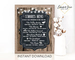 S'more Menu Wood Border Chalkboard Design Printable Sign - Digital File - Instant Download