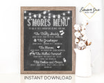 S'more Menu Chalkboard Design Printable Sign - Digital File - Instant Download