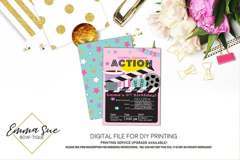 Movie Night - Girl's Movie theatre Birthday Invitation - Digital File Printable (movie-nightgrl)
