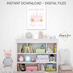 Dream Big Princess Tiara Girl's Nursery, Playroom, Bedroom Printable Wall Art  - Digital File - Instant Download