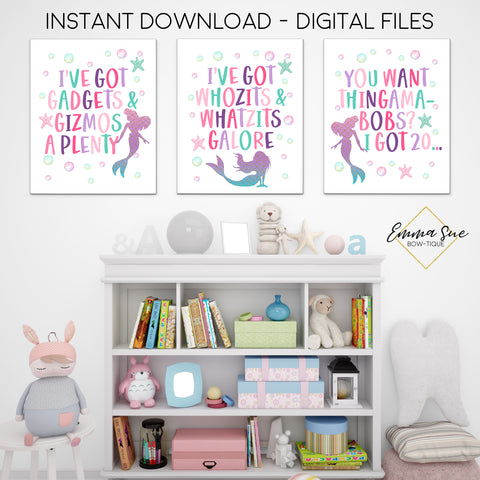 The Little Mermaid Signs - I've got Gadgets & Gizmos a plenty - Kid's Room Or Baby Nursery Printable Wall Art  - Digital File