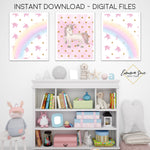 Watercolor Pastel Unicorn & Rainbow Set - Kid's Room Or Baby Nursery Printable Wall Art  - Digital File