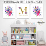 Gold & Watercolor Wildflowers Floral Personalized Baby Name & Initial Sign - Kid's Room Or Nursery Printable Wall Art  - Digital File (Name-wildflower)